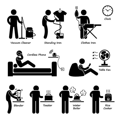 vacuuming: Home House Electronic Appliances Tools and Equipments Stick Figure Pictogram Icon Cliparts Illustration