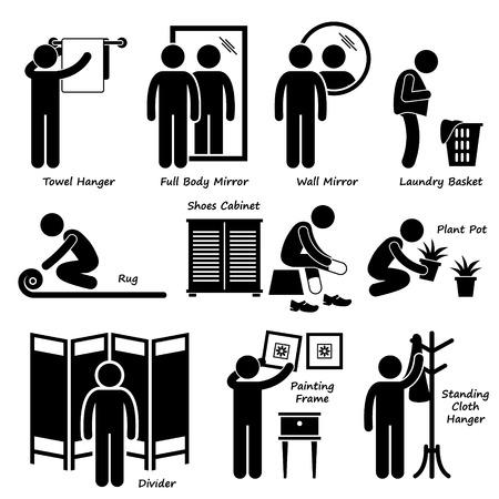 furnishing: Thuis Huis Accessoires en Decoratie Stick Figure Pictogram Icoon Cliparts