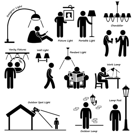 man outdoors: Home House Lighting Lamp Designs Stick Figure Pictogram Icon Cliparts Illustration