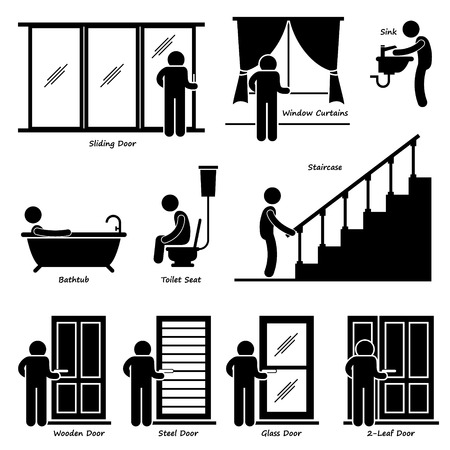 curtain: Home House Indoor Fixtures Stick Figure Pictogram Icon Cliparts Illustration