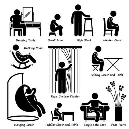 Thuis Huis meubels en decoraties Stick Figure Pictogram Icoon Cliparts Vector Illustratie