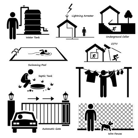 Haupthaus-Außenstruktur Infrastruktur und Fixtures Strichmännchen-Icon-Piktogramm Cliparts