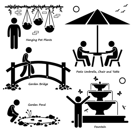 Home House Garden Outdoor Structures Fixture Decorations Stick Figure Pictogram Icon Cliparts Vector