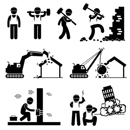 Demolizioni Operaio Demolire un edificio Stick Figure pittogrammi Icona Clipart Vettoriali