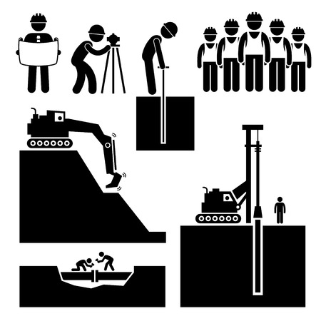surveying: Ingenier�a de la Construcci�n Civil Earthworks trabajadores Figura Stick Pictograma del icono Clip Art Vectores