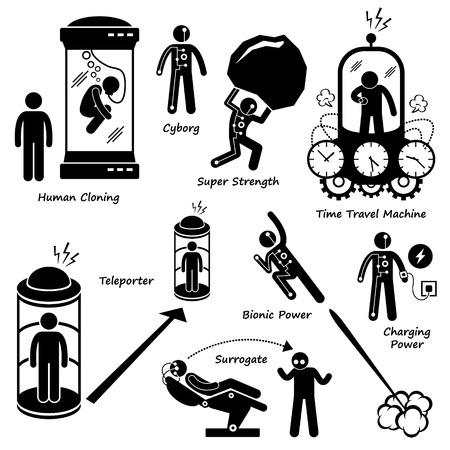 science fiction: Verre toekomst van Human Technology Science Fiction Stick Figure Pictogram Icon Cliparts Stock Illustratie