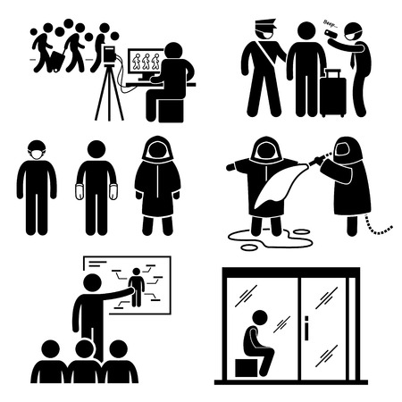 Control Diseases Virus Transmission Outbreak Stick Figure Pictogram Icons Vector