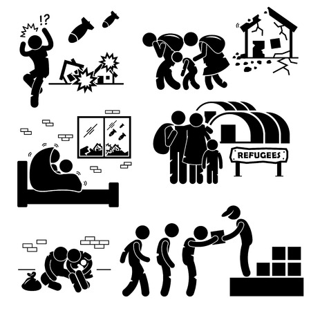 bombing: Refugiados Evacuado Guerra Figura Stick Pictograma Icons