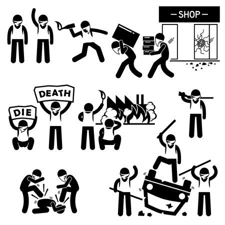 Riot Rebel Revolution Protesters Demonstration Stick Figure Pictogram Icons Vector