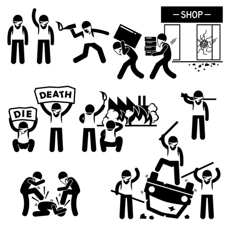 commotion: Riot Rebel Revolution Protesters Demonstration Stick Figure Pictogram Icons Illustration