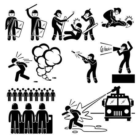 Riot Police Stick Figure Pictogram Icons Vector