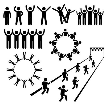 gens heureux: Les gens communautaires de protection Stick Figure pictogrammes ic�nes