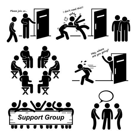 cuidar: Soporte de reuniones de grupo Figura Stick Pictograma Icons