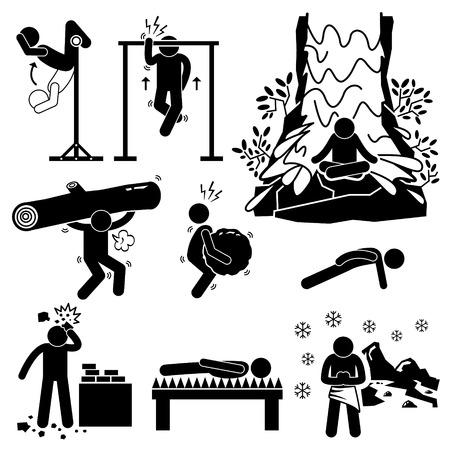 은둔 극단적 인 신체 및 정신 교육 스틱 그림 픽토그램 아이콘
