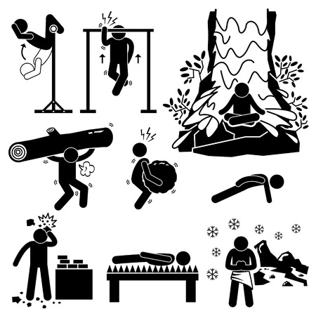 Hermit Extreme Physical and Mental Training Stick Figure Pictogram Icons Vector