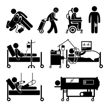 malato: Life Support Equipments Stick Figure Pittogramma Icona Vettoriali