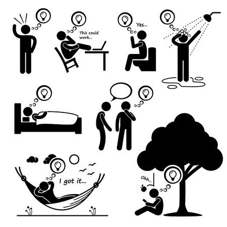 pensando: Man Pensamento da idéia nova figura da vara Icons pictograma Ilustração