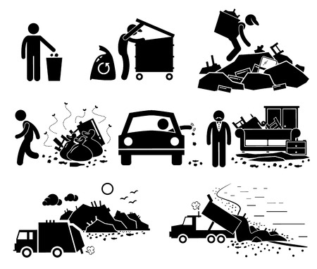 Rubbish Trash Garbage Waste Dump Site Stick Figure Pictogram Icons Vettoriali