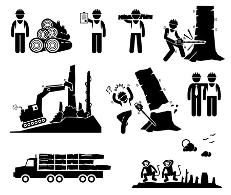 deforestacion: Registro Timber Trabajador Deforestación Figura Stick Pictograma Icons