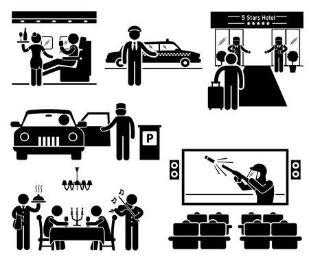 theater seats: Luxury Services First Class Business VIP Stick Figure Pictogram Icons