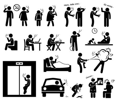 humo: Fumadores Figura Stick Pictograma Icons Vectores