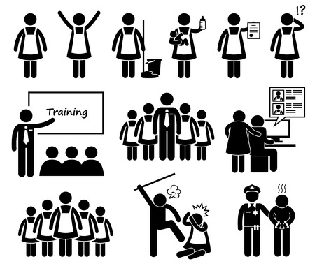 sirvienta: Agencia Maid Exteriores Figura Stick Pictograma Icons Vectores