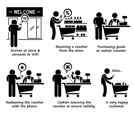happy shopper: Shopping at Store and Redeeming Online Voucher Process Step by Step Stick Figure Pictogram Icons Illustration