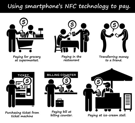 billing: Paying with Phone NFC Technology Stick Figure Pictogram Icons Illustration