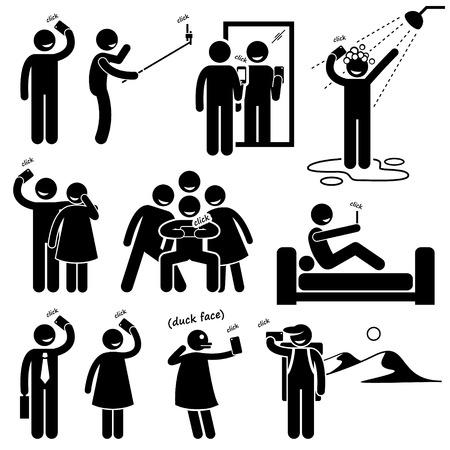 frau dusche: Selfie Stick Figure Piktogramm Icons Illustration
