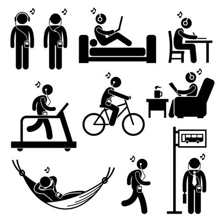 silueta ciclista: Hombre que escucha la música con los auriculares de oído Figura Stick Pictograma Icons