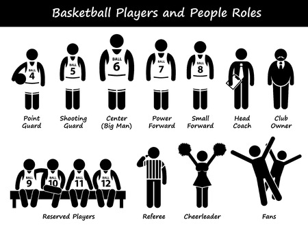 Basketball Players Team Stick Figure Pictogram Icons Illustration