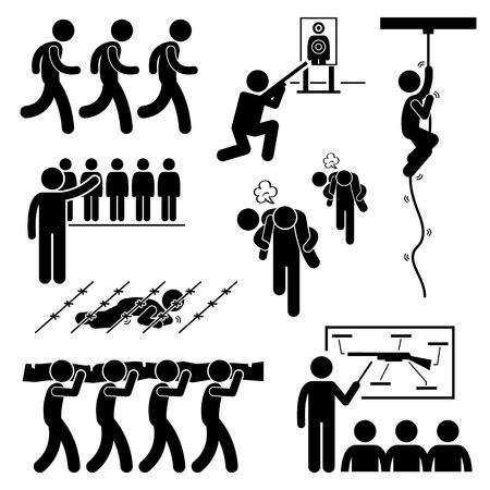 educacion fisica: Soldado Entrenamiento Entrenamiento Militar Nacional Servicios Pesados ??Figura Stick Pictograma Icons Vectores