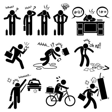 действие: Сбой Бизнесмен чувство эмоция Действие фигурку пиктограмма иконки Иллюстрация