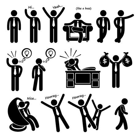 empresarios: Exitoso hombre de negocios feliz Poses Figura Stick Pictograma Icons Vectores