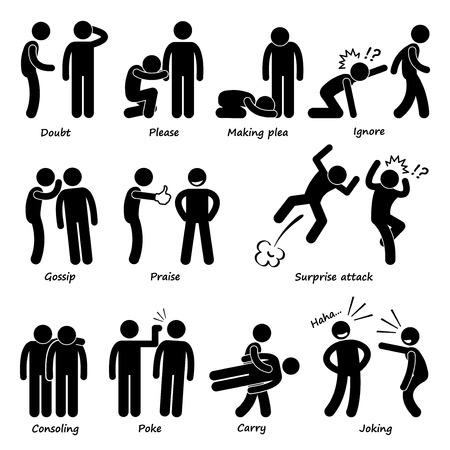 lenguaje corporal: Emoción Hombre Acción Humana Figura Stick Pictograma Iconos Vectores