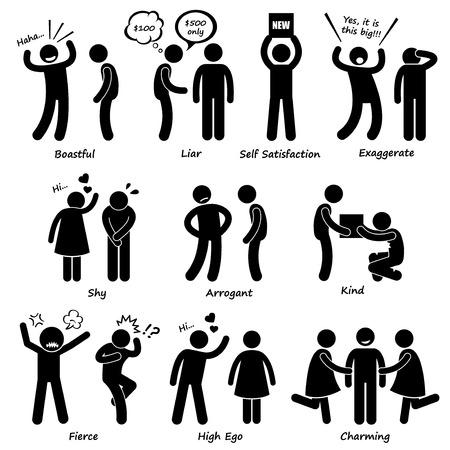 humilde: Humano carácter del hombre de Comportamiento Figura Stick Pictograma Icons Vectores