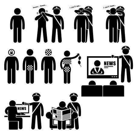 democracia: Restricciones Censor Censorhip Gobierno Medios Dibujo de figuras Icono Pictograma