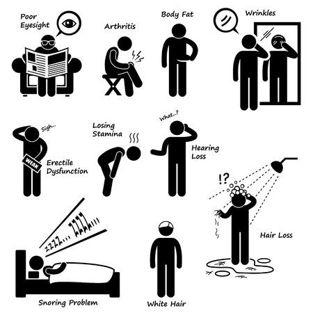 s�ntomas: Signo de envejecimiento Hombre Envejecer S�ntomas Stick Figure Pictograma Icono Vectores