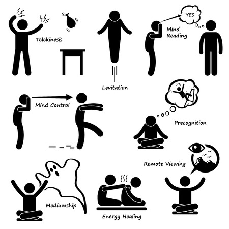 psychic: Psychic Power Sixth Sense Stick Figure Pictogram Icon