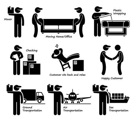 verhuis dozen: Mover Diensten Moving House Office Goederen Logistieke Stick Figure Pictogram Icoon