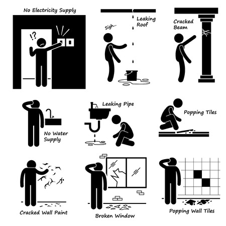broken window: Broken House Old Building Problems Stick Figure Pictogram Icons Illustration