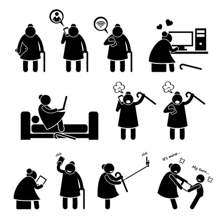 woman using laptop: High Tech Granny Elderly Old Woman Using Computer and Smartphone Stick Figure Pictogram Icons