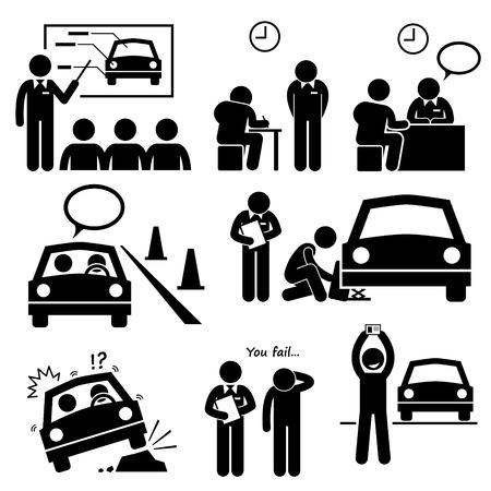 leccion: Hombre que consigue Licencia de coches de lección de la escuela de conducción Figura Stick Pictograma Iconos Vectores