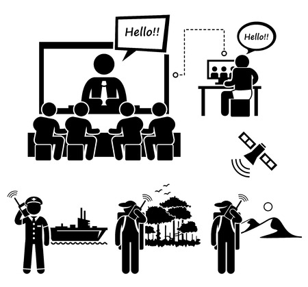 man using computer: Business Video Conferencing and Man Using Satellite Phone Stick Figure Pictogram Icons Illustration