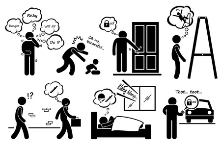 Paranoid Paranoia People Too Worry Stick Figure Pictogram Icons Vector