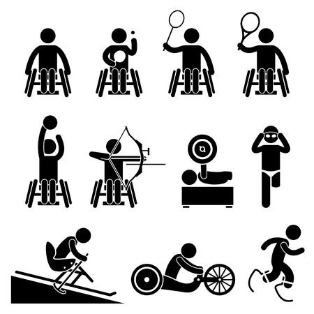 Disable Handicap Sport competition for athletes with disabilities Games Stick Figure Pictogram Icons