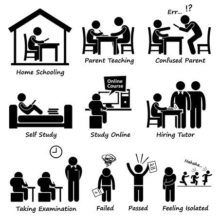 Homeschooling Home School Education Stick Figure Pictogram Icons Vector