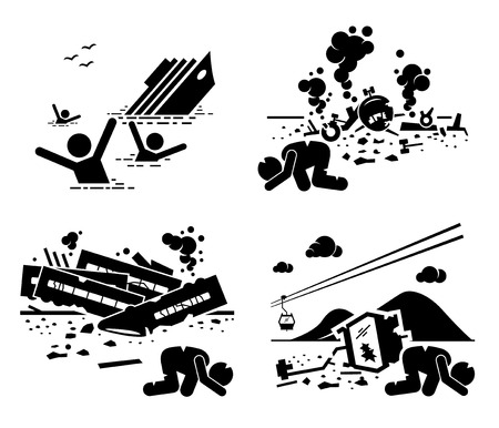 mishap: Disaster Accident Tragedy of Sinking Ship, Airplane Crash, Train Wreck, and Falling Cable Car Stick Figure Pictogram Icons