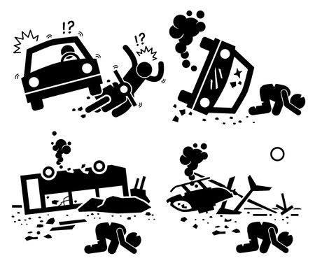 disaster: Disaster Accident Tragedy of Car Motorcycle Collision, Bus Crash, and Helicopter Mishap Stick Figure Pictogram Icons Illustration