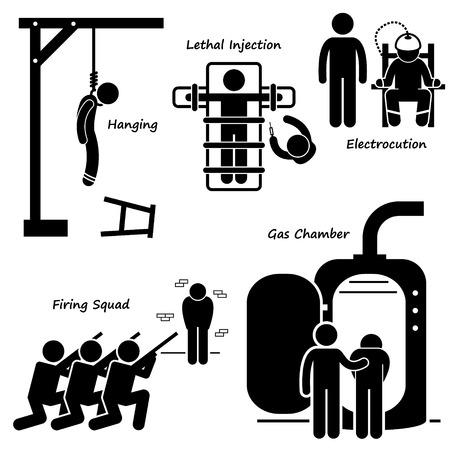 Execution Death Penalty Capital Punishment Modern Methods Stick Figure Pictogram Icons Illustration